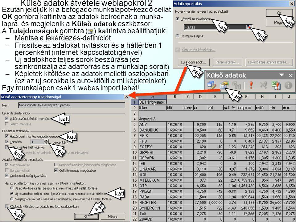 Külső adatok átvétele weblapokról 1 Az Adatok|Külső adatok importálása| Új weble- kérdezés (Data|Import| Web) menűben: –Cím:a forrás webcí- me (pl.www