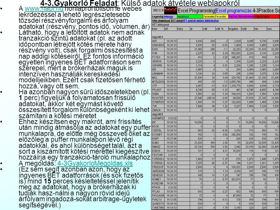 Külső adatok átvétele weblapokról 3 A webes adatlekérdezés makróból is megy. A munkalap (WorkSheet) objektum lekérdező- táblák (QueryTables()) kollekc