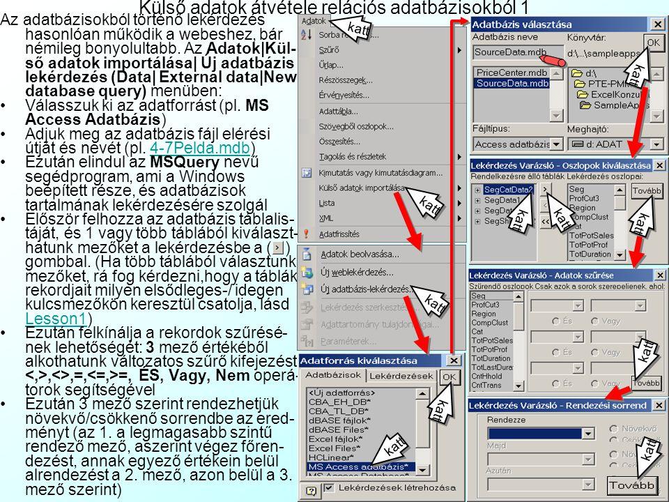 4-3.Gyakorló Feladat: Külső adatok átvétele weblapokról A www.napi.hu honlapról töltsön le webes lekrdezéssel a lehető legrészletesebb tőzsdei részvén