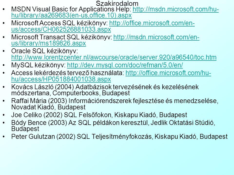 4-6.Gyakorló Feladat: Több táblás lekérdezések gyakorlása A 4-6Pelda.mdb egy edénygyár adatbázisa, ahol az alábbi táblákkal:4-6Pelda.mdb Vevok: az edé