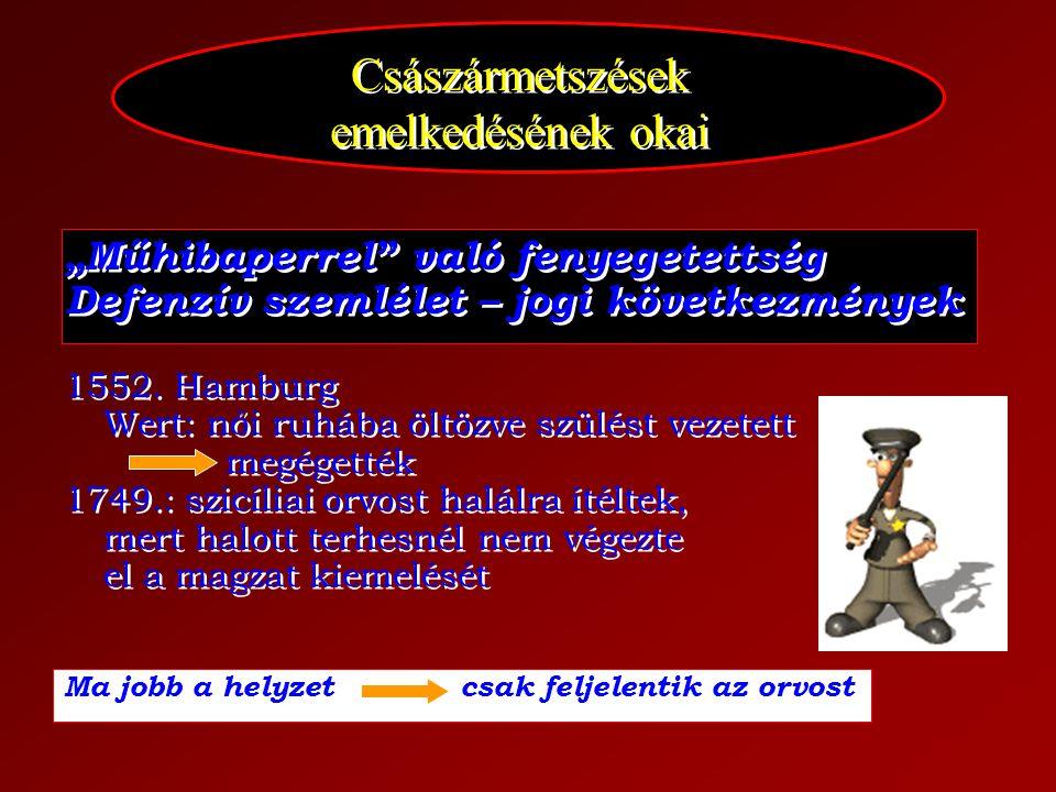 """Császármetszések emelkedésének okai """"Műhibaperrel"""" való fenyegetettség Defenzív szemlélet – jogi következmények 1552. Hamburg Wert: női ruhába öltözve"""