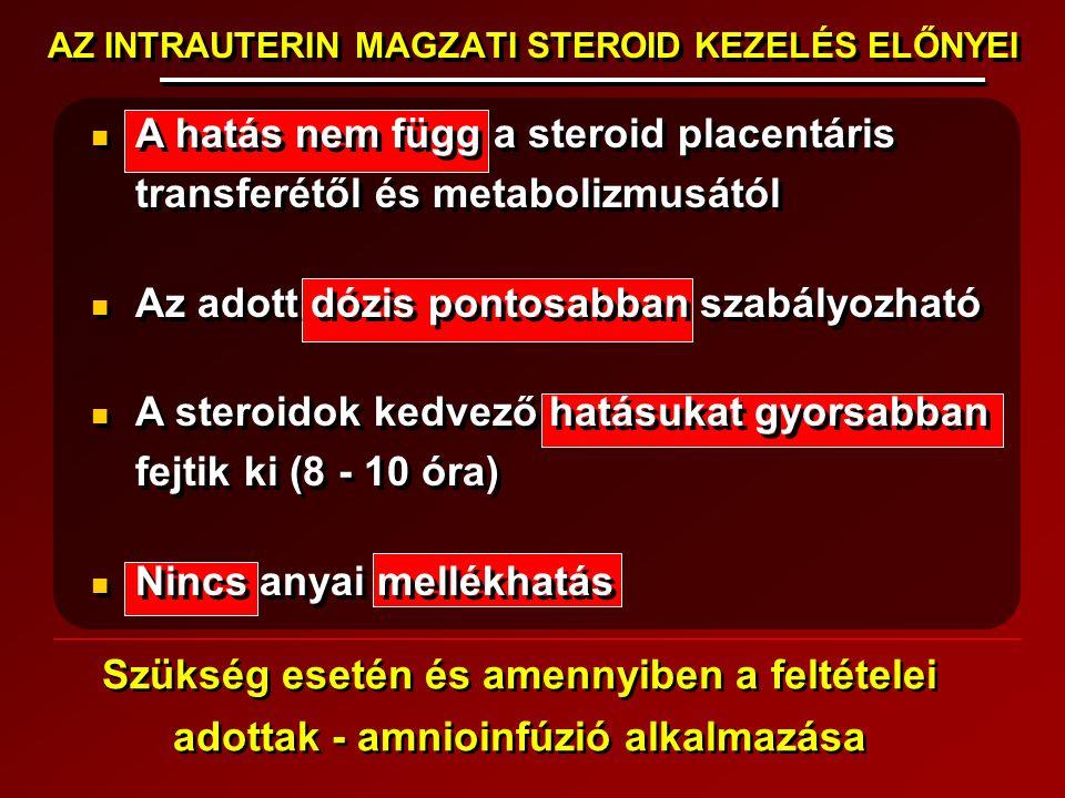 AZ INTRAUTERIN MAGZATI STEROID KEZELÉS ELŐNYEI A hatás nem függ a steroid placentáris transferétől és metabolizmusától Az adott dózis pontosabban szab