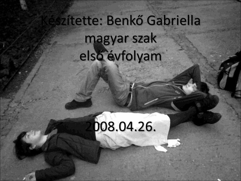 Készítette: Benkő Gabriella magyar szak első évfolyam 2008.04.26.