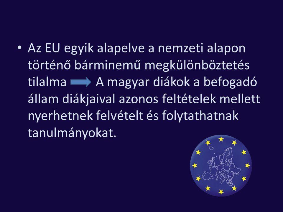 Az EU egyik alapelve a nemzeti alapon történő bárminemű megkülönböztetés tilalma A magyar diákok a befogadó állam diákjaival azonos feltételek mellett nyerhetnek felvételt és folytathatnak tanulmányokat.