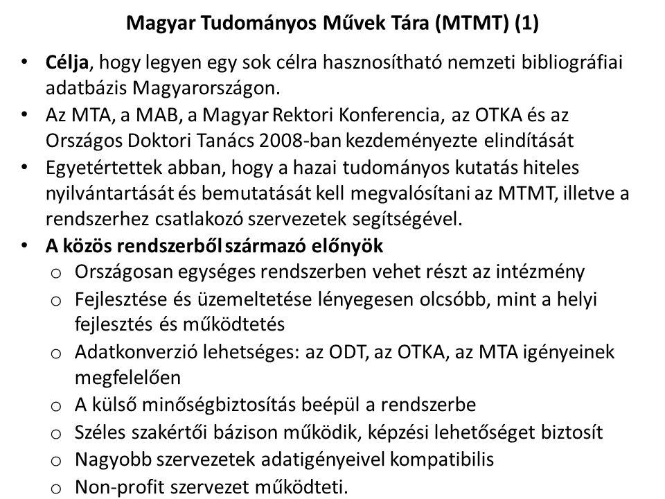 Célja, hogy legyen egy sok célra hasznosítható nemzeti bibliográfiai adatbázis Magyarországon. Az MTA, a MAB, a Magyar Rektori Konferencia, az OTKA és