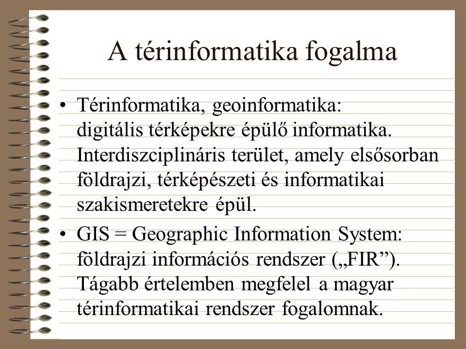 A térinformatika fogalma Térinformatika, geoinformatika: digitális térképekre épülő informatika.