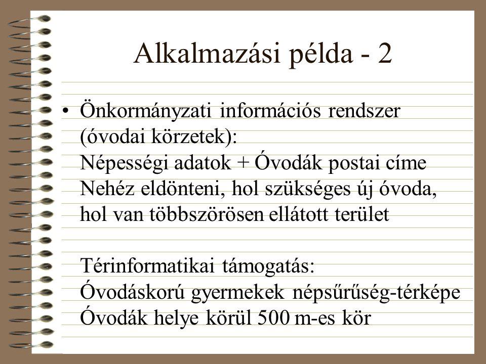 Alkalmazási példa - 2 Önkormányzati információs rendszer (óvodai körzetek): Népességi adatok + Óvodák postai címe Nehéz eldönteni, hol szükséges új óvoda, hol van többszörösen ellátott terület Térinformatikai támogatás: Óvodáskorú gyermekek népsűrűség-térképe Óvodák helye körül 500 m-es kör