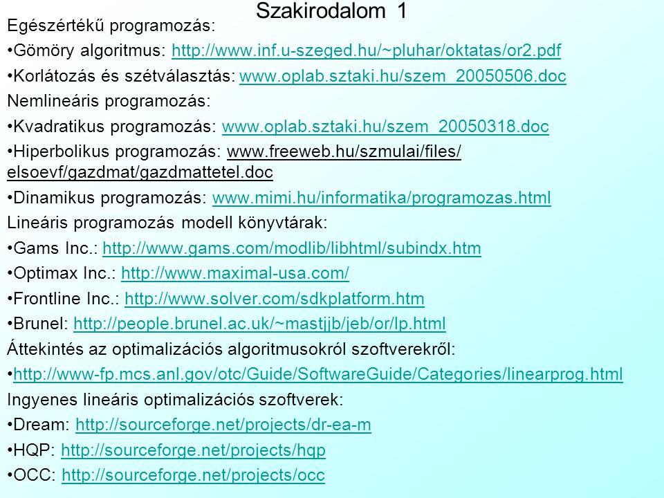 Szakirodalom 1 Egészértékű programozás: Gömöry algoritmus: http://www.inf.u-szeged.hu/~pluhar/oktatas/or2.pdfhttp://www.inf.u-szeged.hu/~pluhar/oktata