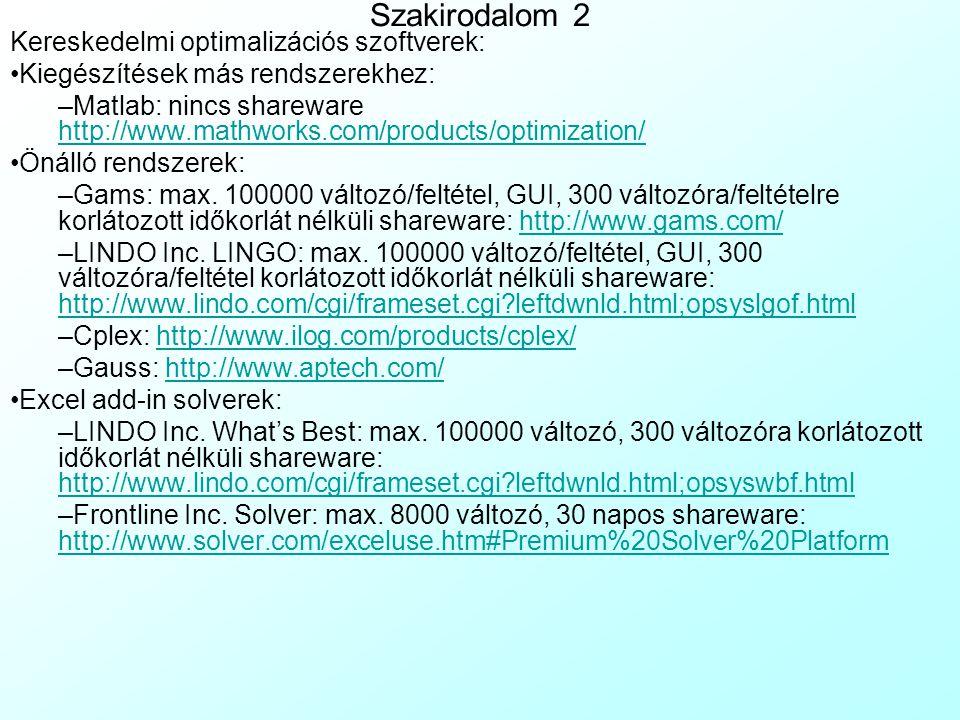 Szakirodalom 2 Kereskedelmi optimalizációs szoftverek: Kiegészítések más rendszerekhez: –Matlab: nincs shareware http://www.mathworks.com/products/opt
