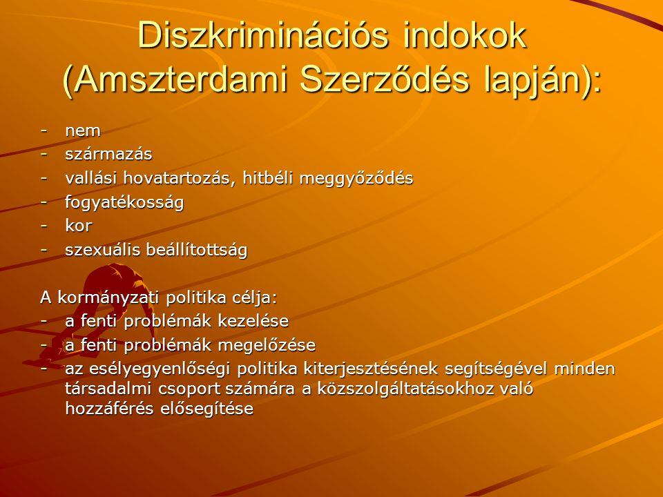 Diszkriminációs indokok (Amszterdami Szerződés lapján): -nem -származás -vallási hovatartozás, hitbéli meggyőződés -fogyatékosság -kor -szexuális beál