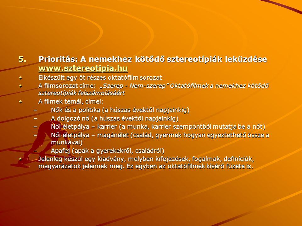 5.Prioritás: A nemekhez kötődő sztereotípiák leküzdése www.sztereotipia.hu www.sztereotipia.hu Elkészült egy öt részes oktatófilm sorozat A filmsoroza
