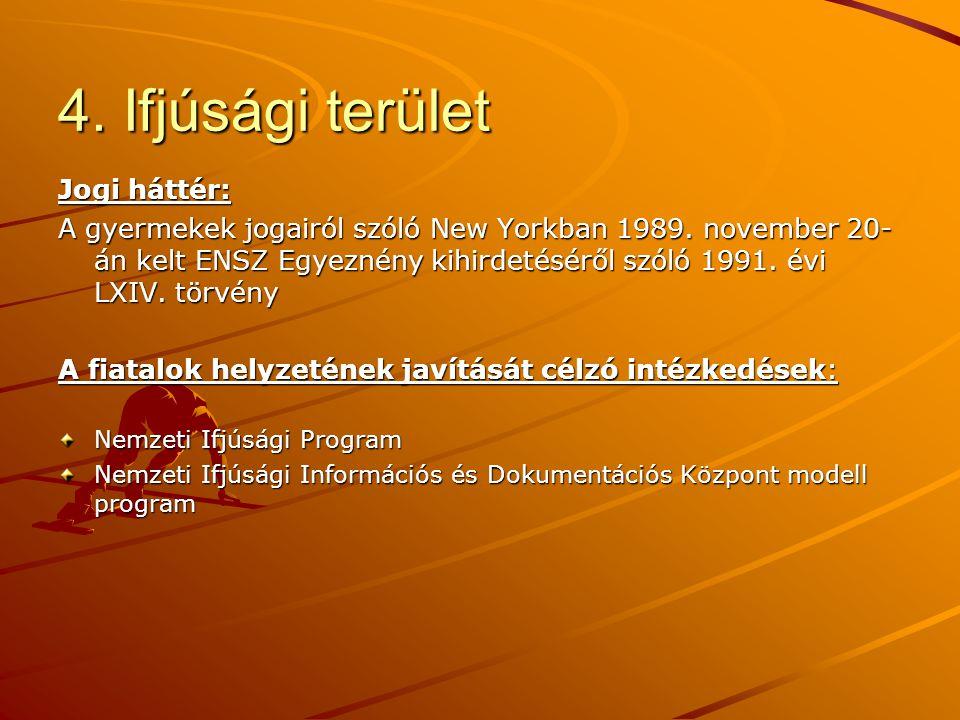 4. Ifjúsági terület Jogi háttér: A gyermekek jogairól szóló New Yorkban 1989. november 20- án kelt ENSZ Egyeznény kihirdetéséről szóló 1991. évi LXIV.