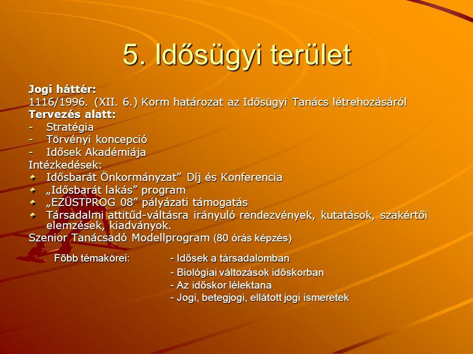5. Idősügyi terület Jogi háttér: 1116/1996. (XII. 6.) Korm határozat az Idősügyi Tanács létrehozásáról Tervezés alatt: -Stratégia -Törvényi koncepció