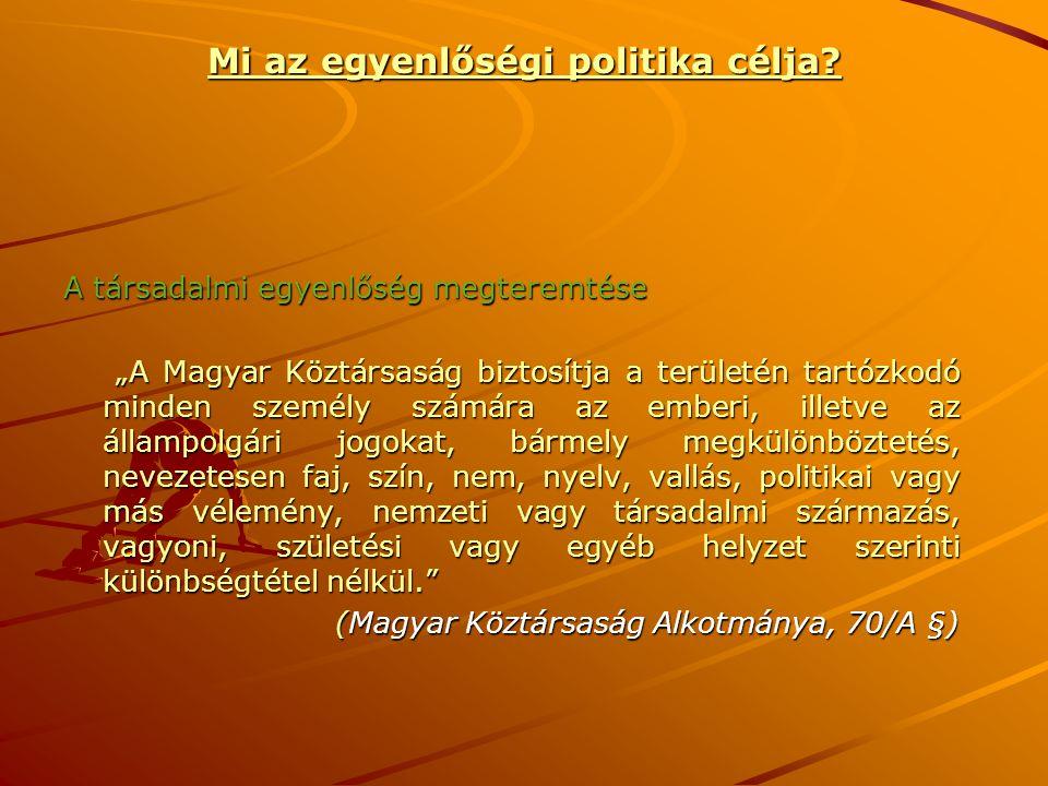 """Mi az egyenlőségi politika célja? A társadalmi egyenlőség megteremtése """"A Magyar Köztársaság biztosítja a területén tartózkodó minden személy számára"""