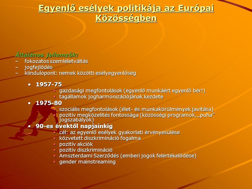 Egyenlő esélyek politikája az Európai Közösségben Általános jellemzők: –fokozatos szemléletváltás –jogfejlődés –kiindulópont: nemek közötti esélyegyen