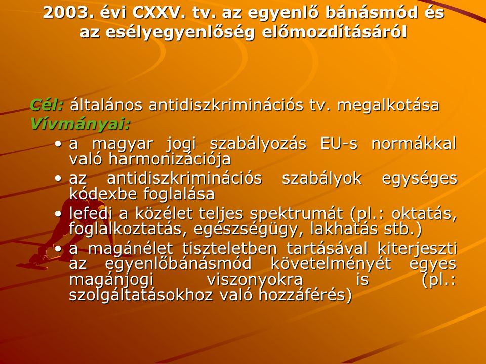 2003. évi CXXV. tv. az egyenlő bánásmód és az esélyegyenlőség előmozdításáról Cél: általános antidiszkriminációs tv. megalkotása Vívmányai: a magyar j