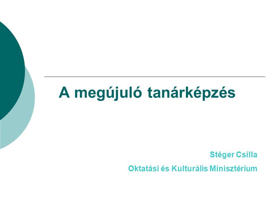 A megújuló tanárképzés Stéger Csilla Oktatási és Kulturális Minisztérium