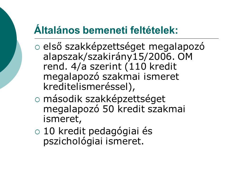 Általános bemeneti feltételek:  első szakképzettséget megalapozó alapszak/szakirány15/2006. OM rend. 4/a szerint (110 kredit megalapozó szakmai ismer