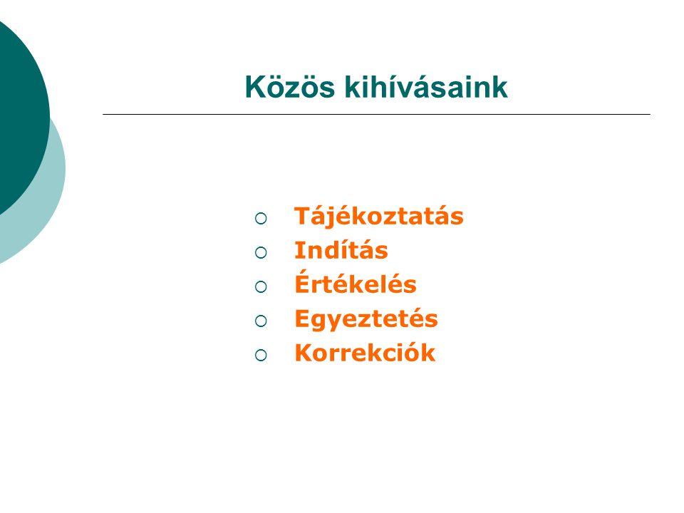 Közös kihívásaink  Tájékoztatás  Indítás  Értékelés  Egyeztetés  Korrekciók