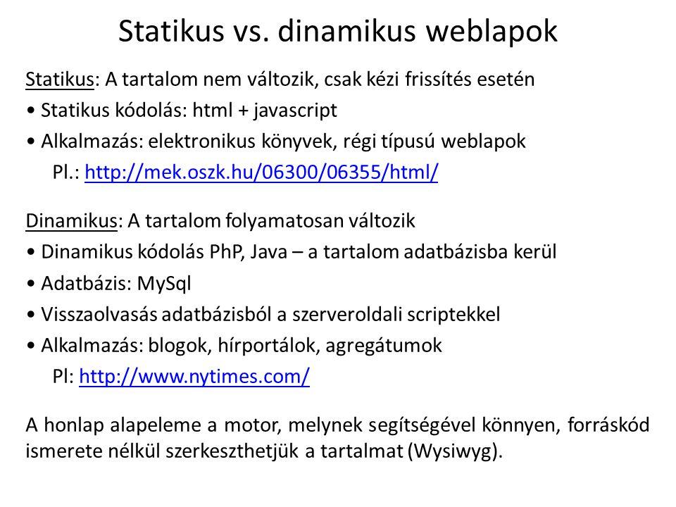 Statikus vs. dinamikus weblapok Statikus: A tartalom nem változik, csak kézi frissítés esetén Statikus kódolás: html + javascript Alkalmazás: elektron