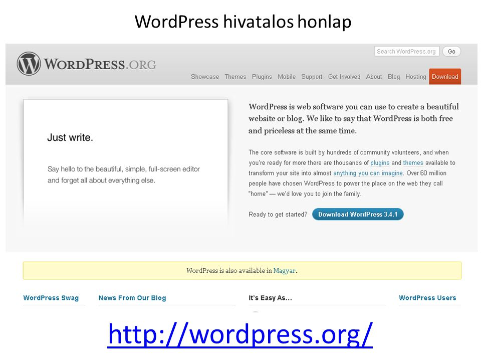 WordPress hivatalos honlap http://wordpress.org/