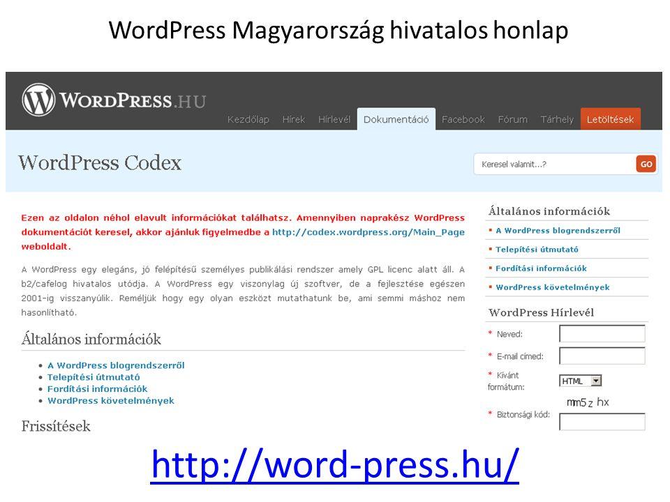 WordPress Magyarország hivatalos honlap http://word-press.hu/
