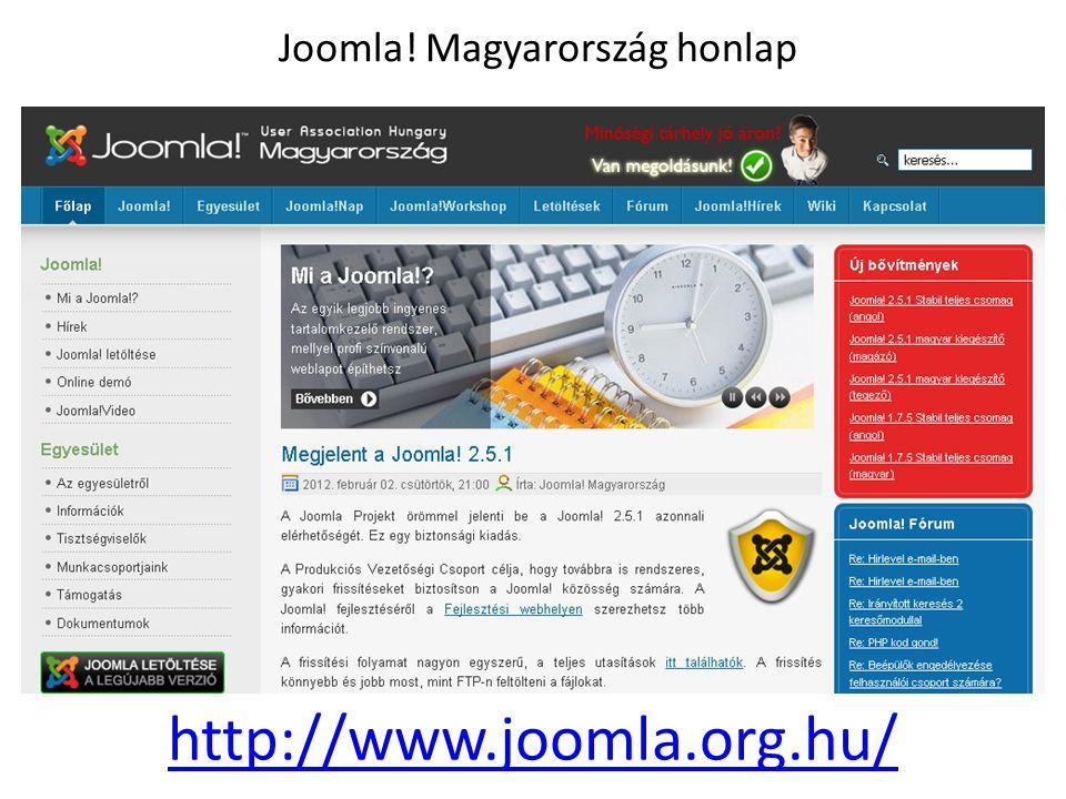 Joomla! Magyarország honlap http://www.joomla.org.hu/