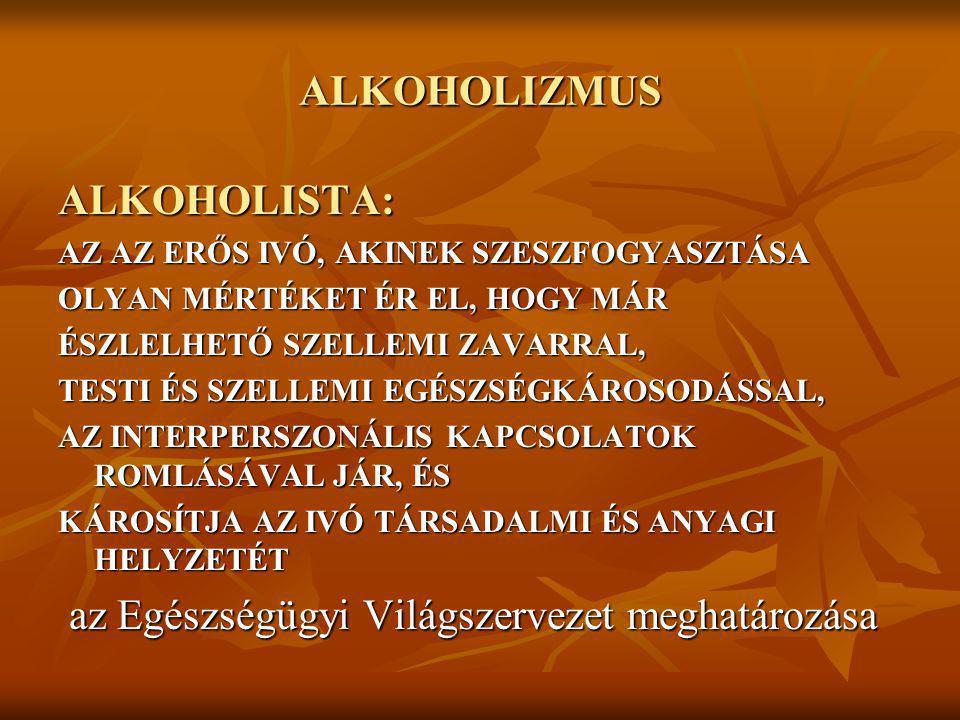 ALKOHOLIZMUS ALKOHOLISTA: AZ AZ ERŐS IVÓ, AKINEK SZESZFOGYASZTÁSA OLYAN MÉRTÉKET ÉR EL, HOGY MÁR ÉSZLELHETŐ SZELLEMI ZAVARRAL, TESTI ÉS SZELLEMI EGÉSZ