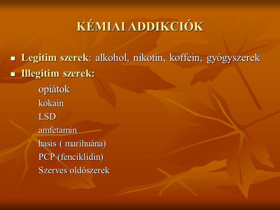 KÉMIAI ADDIKCIÓK Legitim szerek: alkohol, nikotin, koffein, gyógyszerek Legitim szerek: alkohol, nikotin, koffein, gyógyszerek Illegitim szerek: Illeg