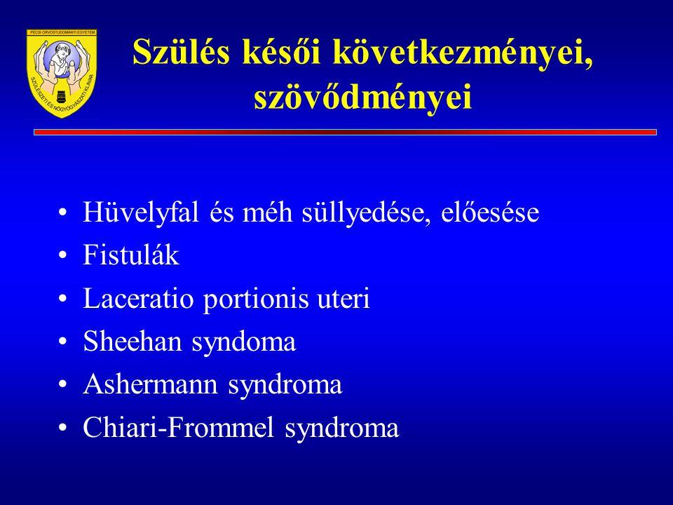 Szülés késői következményei, szövődményei Hüvelyfal és méh süllyedése, előesése Fistulák Laceratio portionis uteri Sheehan syndoma Ashermann syndroma