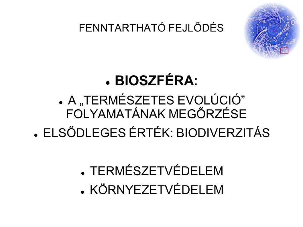 """FENNTARTHATÓ FEJLŐDÉS BIOSZFÉRA: A """"TERMÉSZETES EVOLÚCIÓ FOLYAMATÁNAK MEGŐRZÉSE ELSŐDLEGES ÉRTÉK: BIODIVERZITÁS TERMÉSZETVÉDELEM KÖRNYEZETVÉDELEM"""