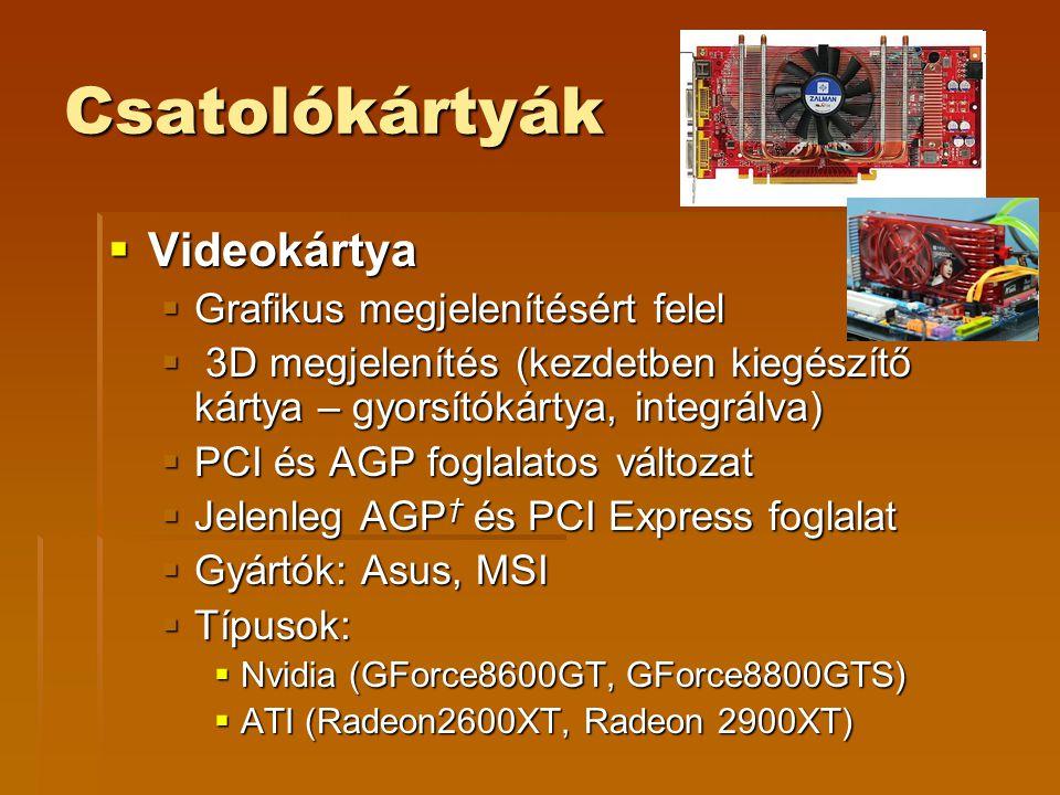Csatolókártyák  Videokártya  Grafikus megjelenítésért felel  3D megjelenítés (kezdetben kiegészítő kártya – gyorsítókártya, integrálva)  PCI és AG