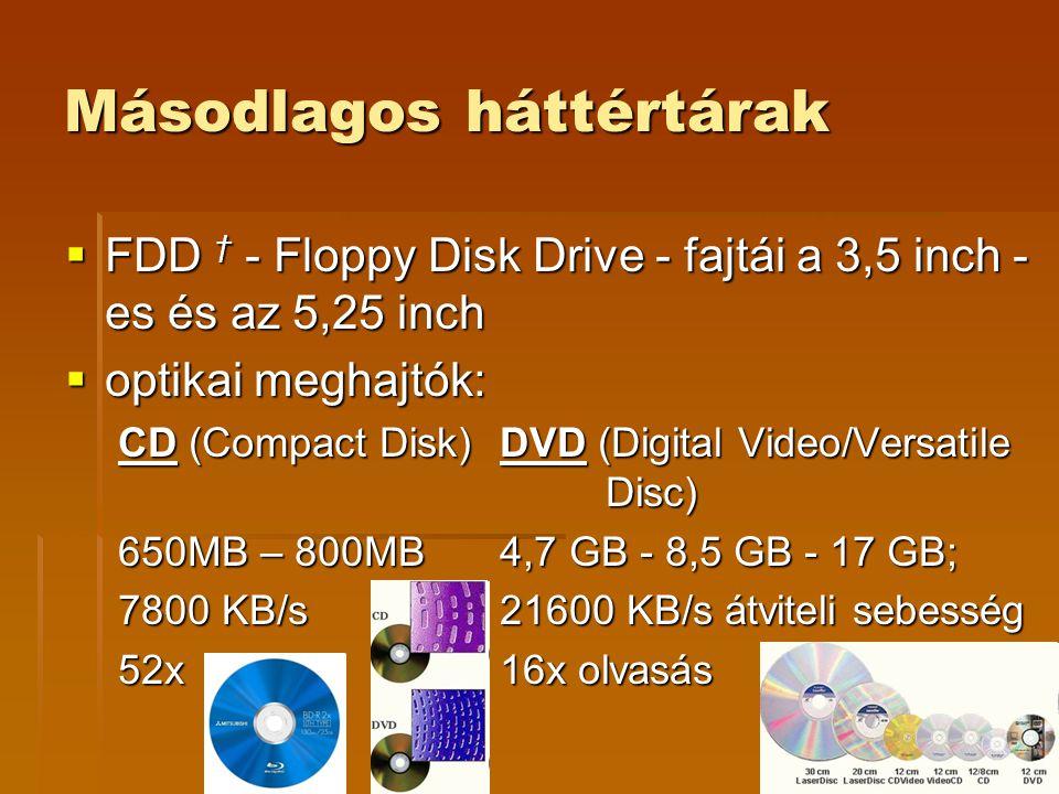 Másodlagos háttértárak  FDD † - Floppy Disk Drive - fajtái a 3,5 inch - es és az 5,25 inch  optikai meghajtók: CD (Compact Disk) DVD (Digital Video/Versatile Disc) 650MB – 800MB 4,7 GB - 8,5 GB - 17 GB; 7800 KB/s 21600 KB/s átviteli sebesség 52x 16x olvasás