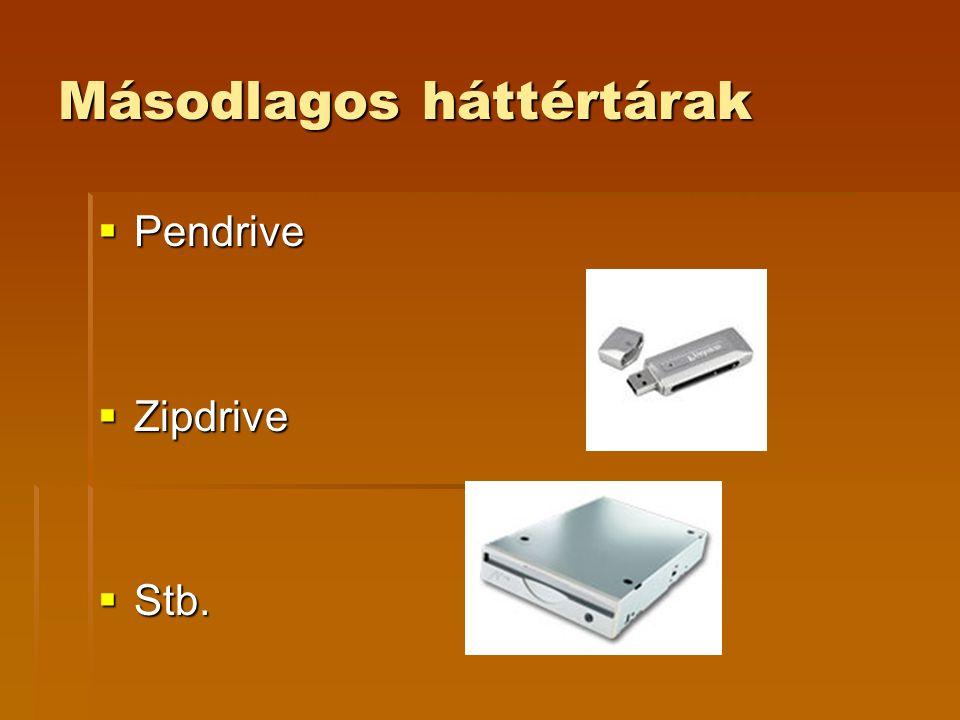 Másodlagos háttértárak  Pendrive  Zipdrive  Stb.