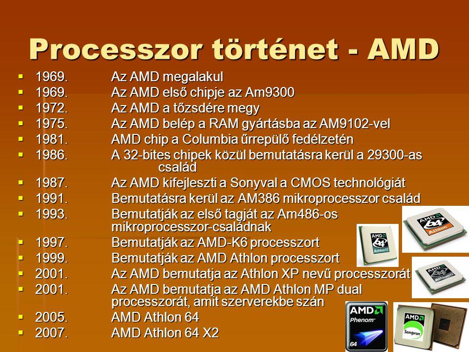 Processzor történet - AMD  1969. Az AMD megalakul  1969. Az AMD első chipje az Am9300  1972. Az AMD a tőzsdére megy  1975.Az AMD belép a RAM gyárt