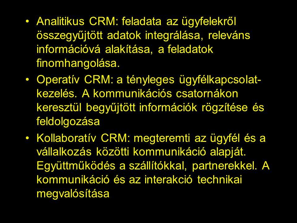 Analitikus CRM: feladata az ügyfelekről összegyűjtött adatok integrálása, releváns információvá alakítása, a feladatok finomhangolása. Operatív CRM: a