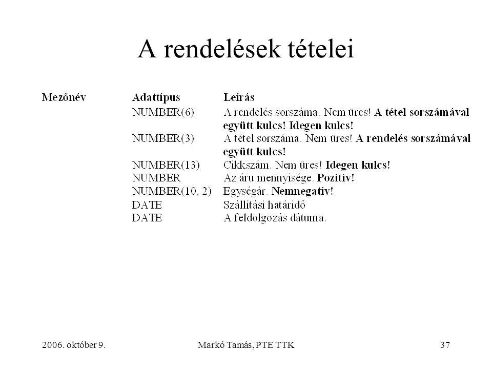 2006. október 9.Markó Tamás, PTE TTK37 A rendelések tételei