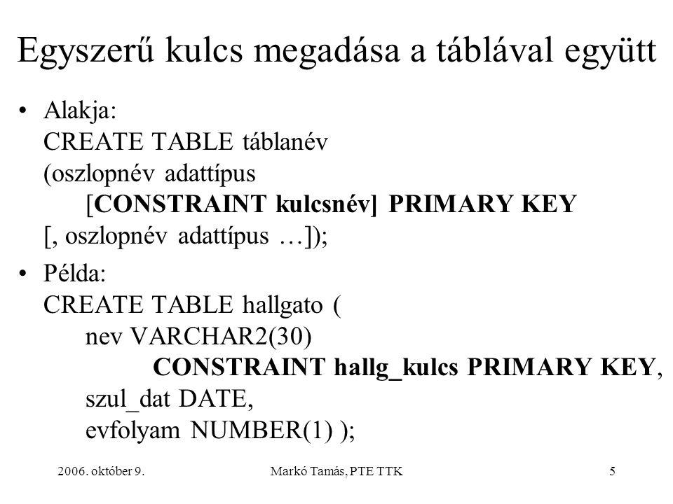 2006. október 9.Markó Tamás, PTE TTK26 Indexek