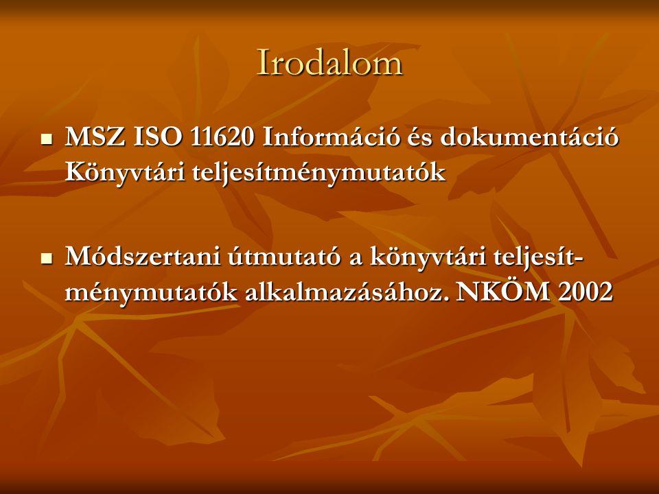 Irodalom MSZ ISO 11620 Információ és dokumentáció Könyvtári teljesítménymutatók MSZ ISO 11620 Információ és dokumentáció Könyvtári teljesítménymutatók