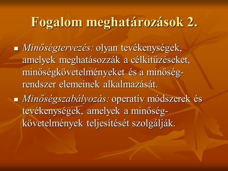 Fogalom meghatározások 2. Minőségtervezés: olyan tevékenységek, amelyek meghatásozzák a célkitűzéseket, minőségkövetelményeket és a minőség- rendszer