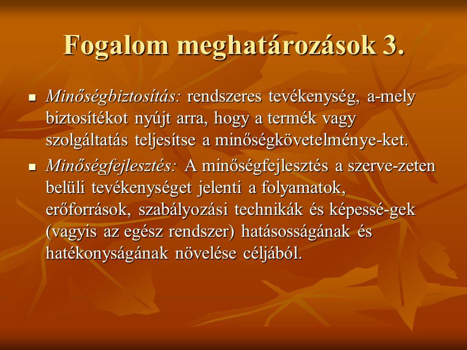 Fogalom meghatározások 3. Minőségbiztosítás: rendszeres tevékenység, a-mely biztosítékot nyújt arra, hogy a termék vagy szolgáltatás teljesítse a minő