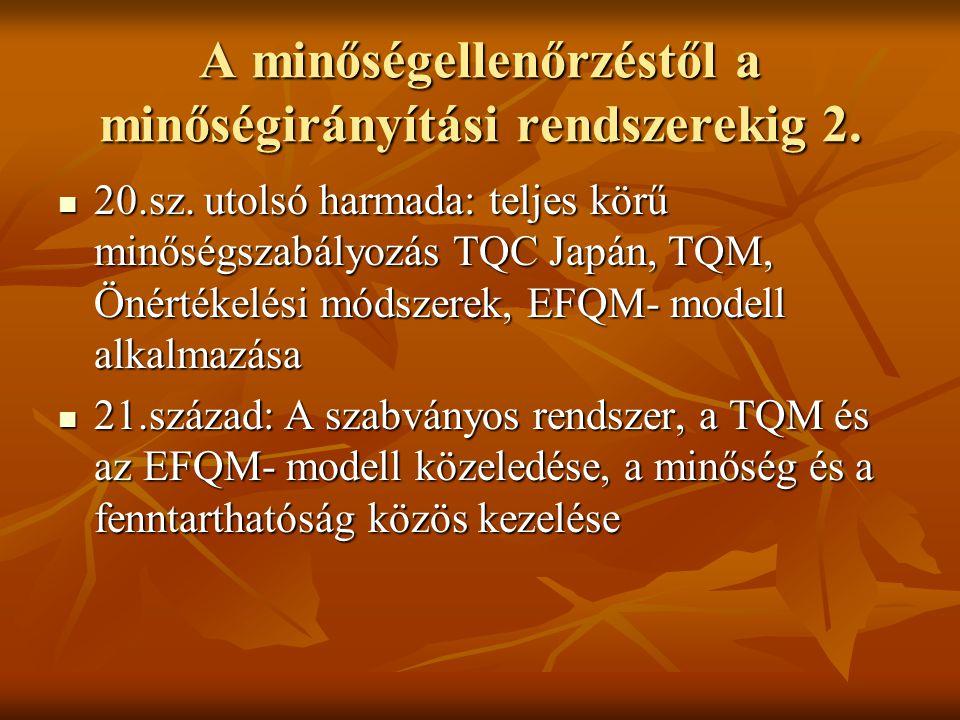 A minőségellenőrzéstől a minőségirányítási rendszerekig 2. 20.sz. utolsó harmada: teljes körű minőségszabályozás TQC Japán, TQM, Önértékelési módszere