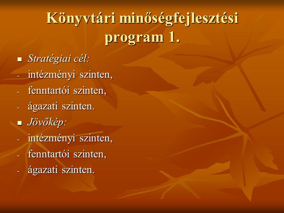 Könyvtári minőségfejlesztési program 1. Stratégiai cél: Stratégiai cél: - intézményi szinten, - fenntartói szinten, - ágazati szinten. Jövőkép: Jövőké