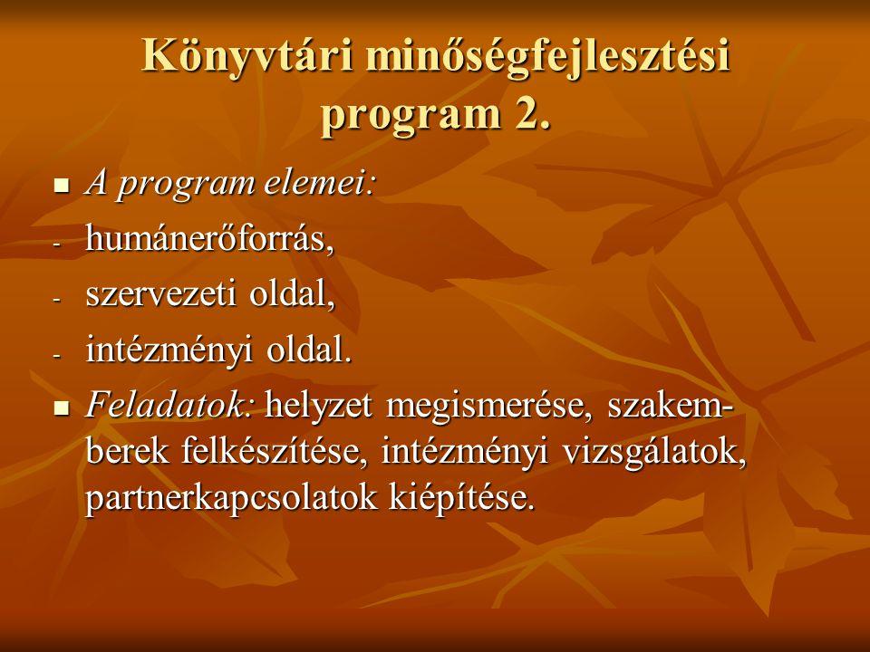 Könyvtári minőségfejlesztési program 2. A program elemei: A program elemei: - humánerőforrás, - szervezeti oldal, - intézményi oldal. Feladatok: helyz