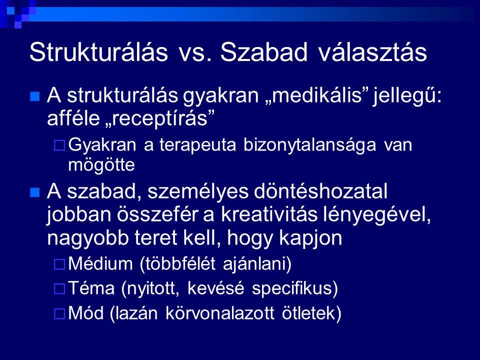 """Strukturálás vs. Szabad választás A strukturálás gyakran """"medikális"""" jellegű: afféle """"receptírás""""  Gyakran a terapeuta bizonytalansága van mögötte A"""