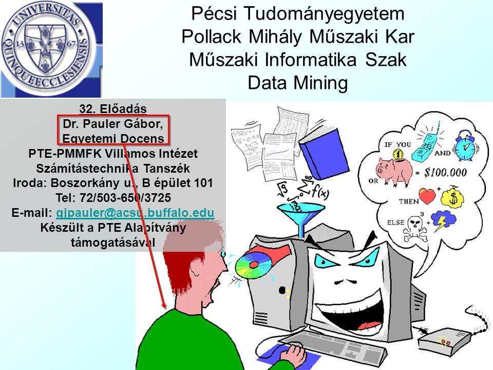 Pécsi Tudományegyetem Pollack Mihály Műszaki Kar Műszaki Informatika Szak Data Mining 32. Előadás Dr. Pauler Gábor, Egyetemi Docens PTE-PMMFK Villamos