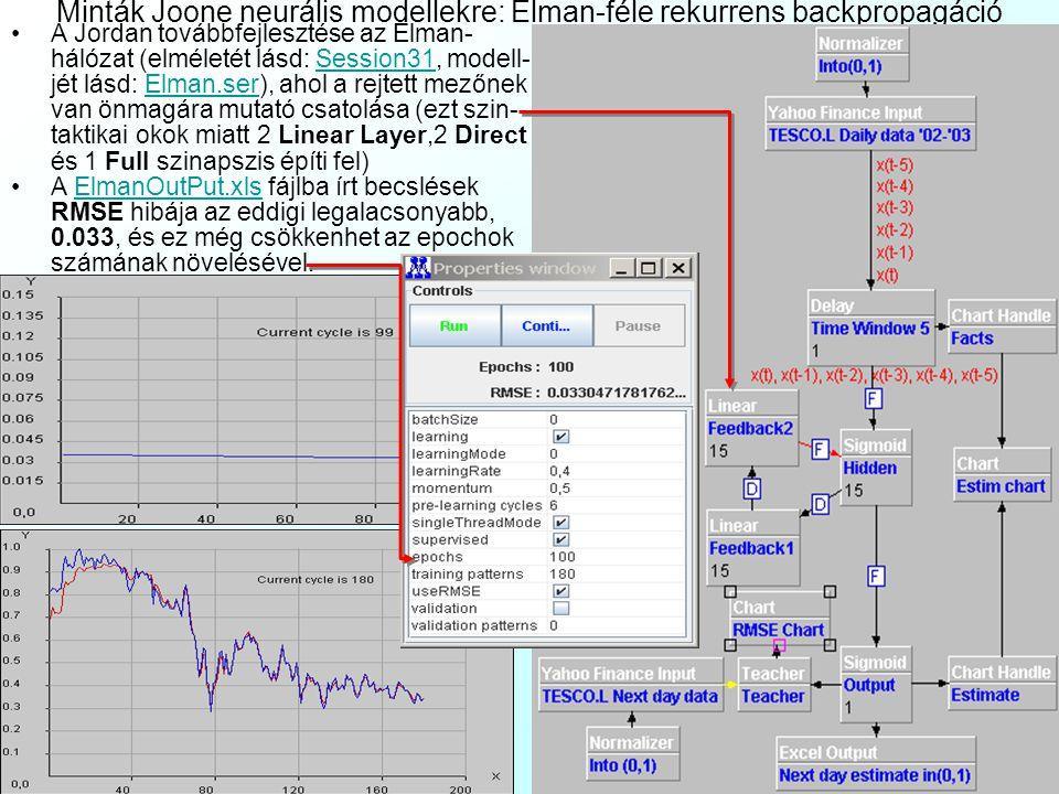 Minták Joone neurális modellekre: Elman-féle rekurrens backpropagáció A Jordan továbbfejlesztése az Elman- hálózat (elméletét lásd: Session31, modell-