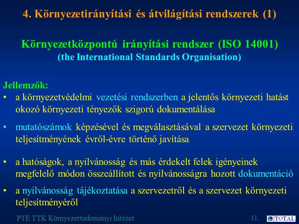 Környezetközpontú irányítási rendszer (ISO 14001) (the International Standards Organisation) PTE TTK Környezettudományi Intézet 4.