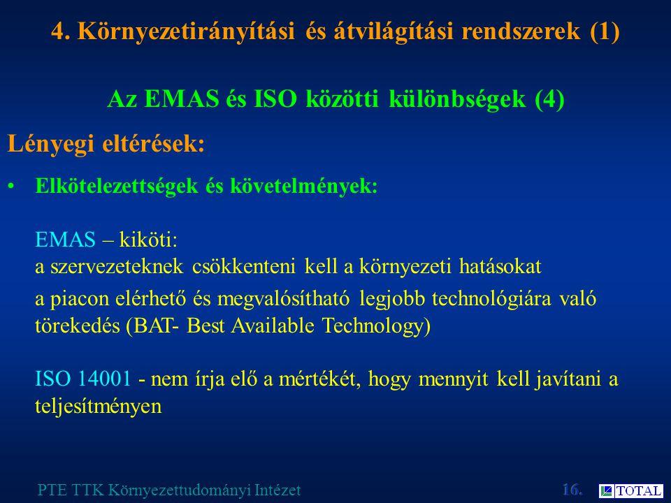 Az EMAS és ISO közötti különbségek (4) PTE TTK Környezettudományi Intézet 4.