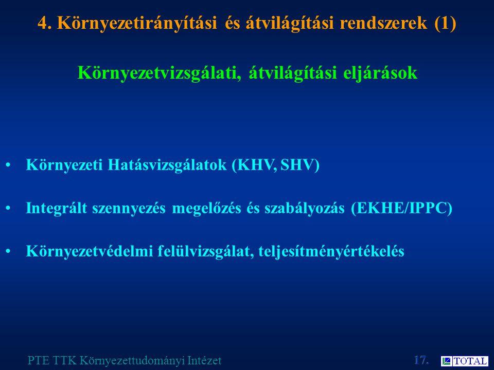 Környezetvizsgálati, átvilágítási eljárások PTE TTK Környezettudományi Intézet 4.